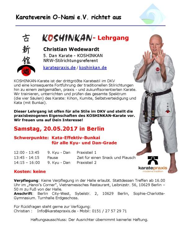 Koshinkan-LG Kata-Effektiv-Bunkai mit NRW Stilrichtungsreferent Christian Wedewardt in Berlin